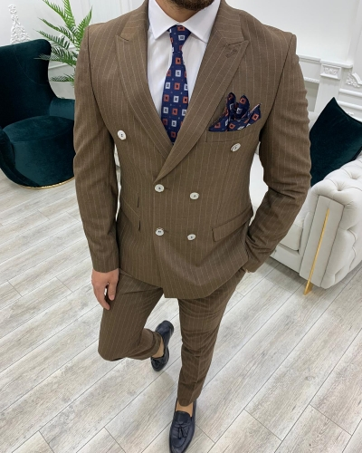 Brown Slim Fit Double Breasted Pinstripe Suit by GentWith.com with Free Worldwide Shipping