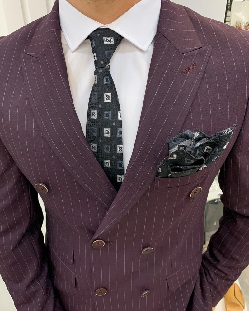 Burgundy Slim Fit Double Breasted Pinstripe Suit by GentWith.com with Free Worldwide Shipping