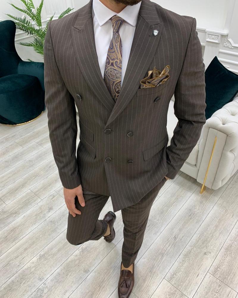 Coffee Slim Fit Double Breasted Pinstripe Suit by GentWith.com with Free Worldwide Shipping