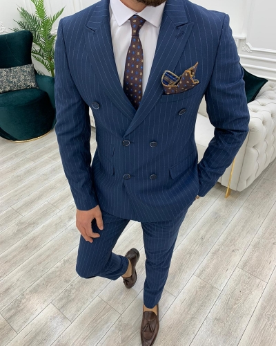 Dark Blue Slim Fit Double Breasted Pinstripe Suit by GentWith.com with Free Worldwide Shipping