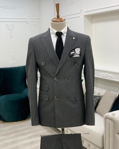 Gray Slim Fit Double Breasted Pinstripe Suit by GentWith.com with Free Worldwide Shipping