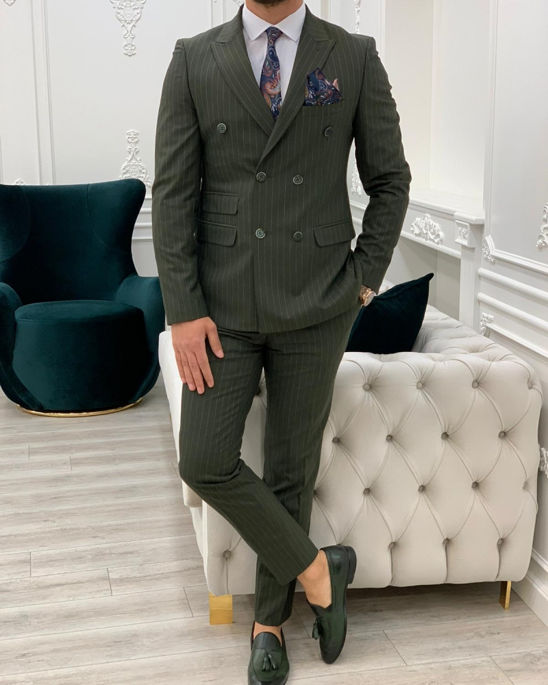 Green Slim Fit Double Breasted Pinstripe Suit by GentWith.com with Free Worldwide Shipping