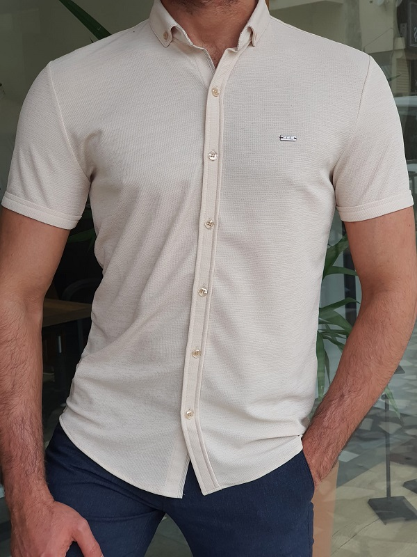 Beige Slim Fit Short Sleeve Shirt for Men by GentWith.com with Free Worldwide Shipping