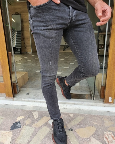 Gray Slim Fit Ripped Jeans by GentWith.com with Free Worldwide Shipping