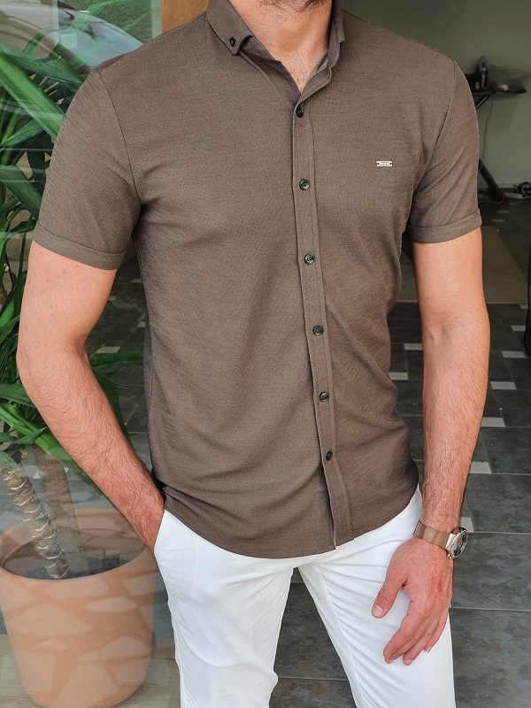 Khaki Slim Fit Short Sleeve Shirt for Men by GentWith.com with Free Worldwide Shipping
