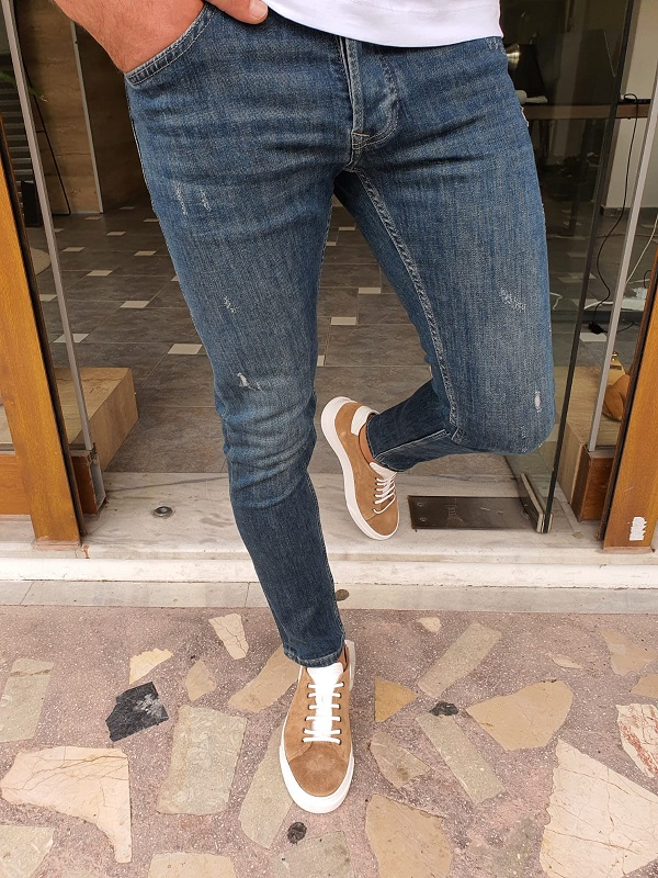 Navy Blue Slim Fit Ripped Jeans by GentWith.com with Free Worldwide Shipping