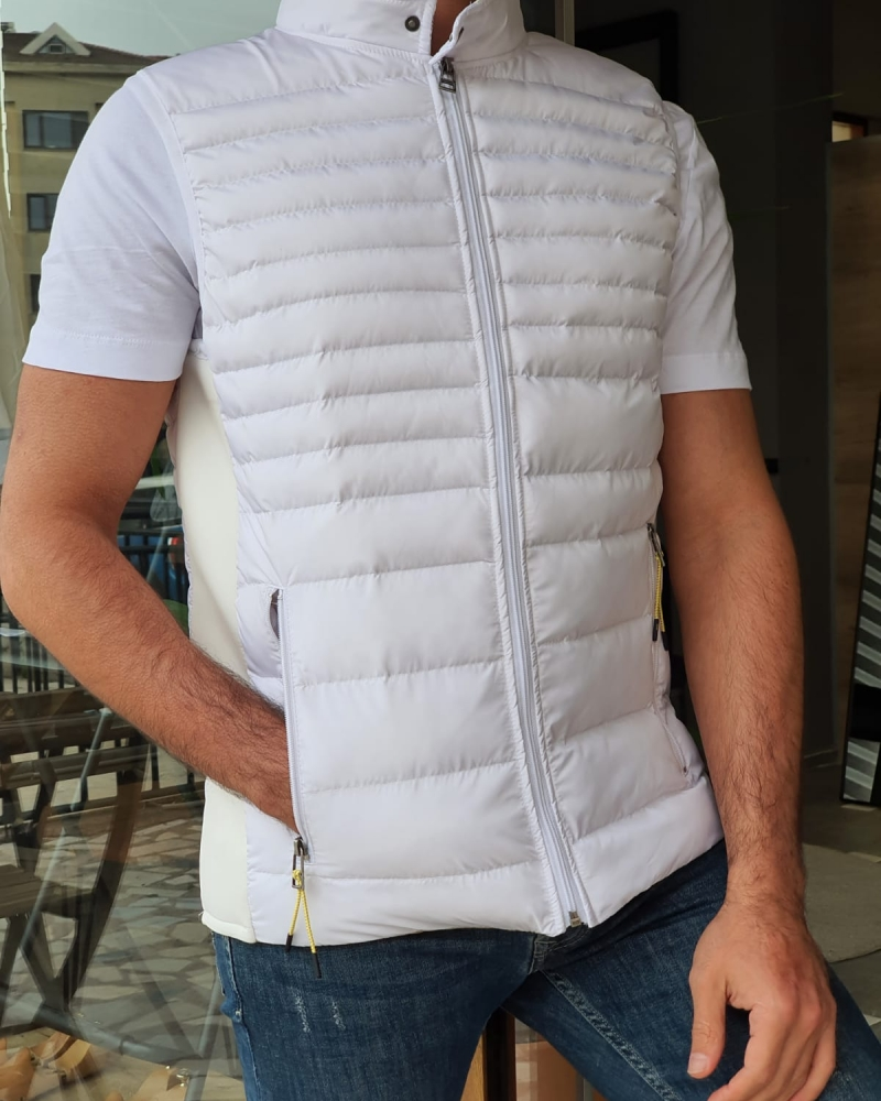 White Slim Fit Puffer Jacket by GentWith.com with Free Worldwide Shipping