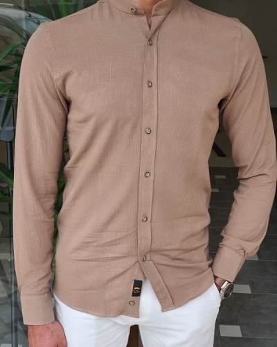 Beige Slim Fit Long Sleeve Cotton Shirt for Men by GentWith.com with Free Worldwide Shipping