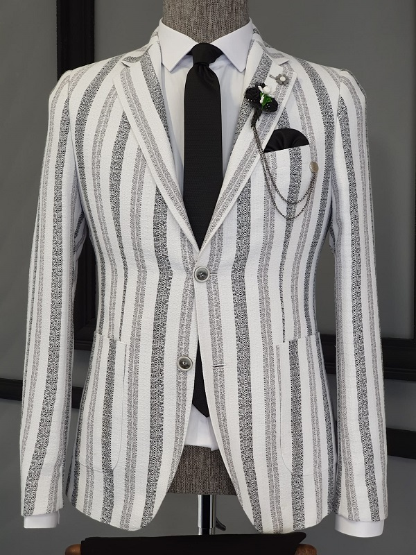 Black Slim Fit Striped Cotton Blazer for Men by GentWith.com with Free Worldwide Shipping