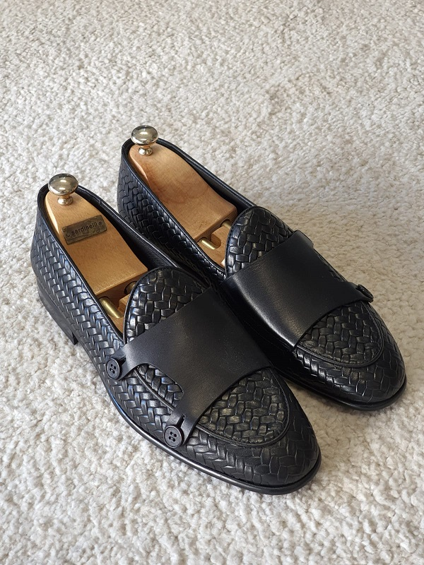 Black Woven Leather Double Monk Strap Loafers for Men by GentWith.com with Free Worldwide Shipping