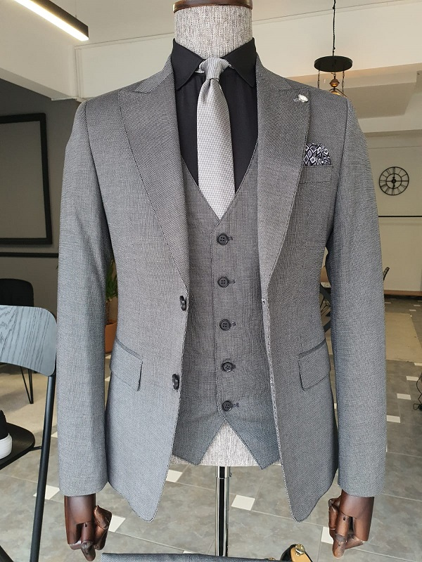 Gray Slim Fit Peak Lapel Suit for Men by GentWith.com with Free Worldwide Shipping