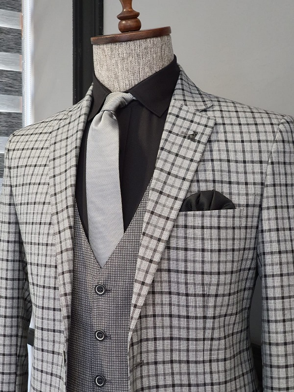 Gray Slim Fit Plaid Suit for Men by GentWith.com with Free Worldwide Shipping