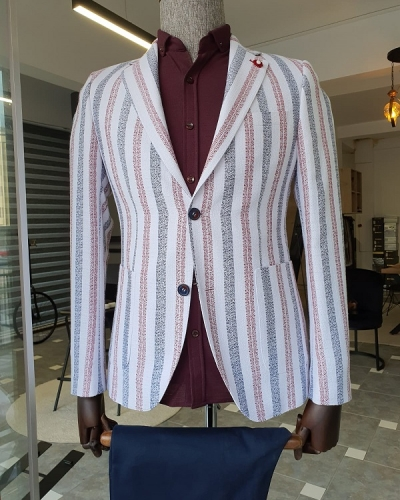 Red Slim Fit Striped Cotton Blazer for Men by GentWith.com with Free Worldwide Shipping