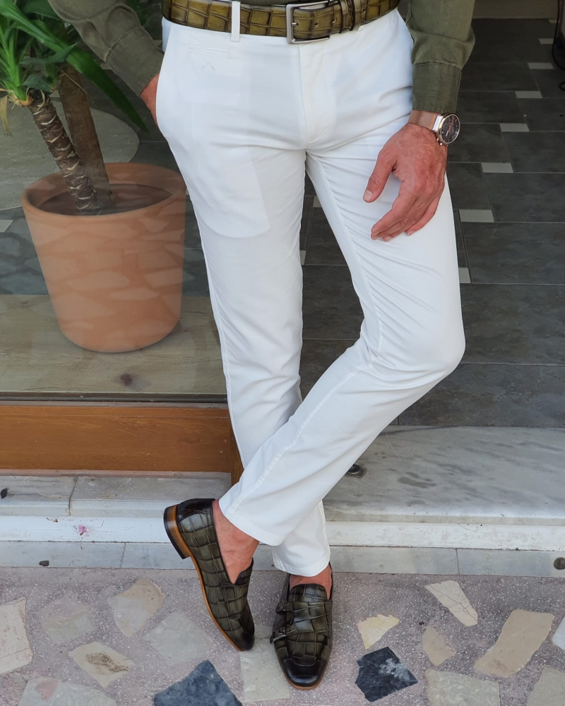 White Slim Fit Cotton Pants for Men by GentWith.com with Free Worldwide Shipping