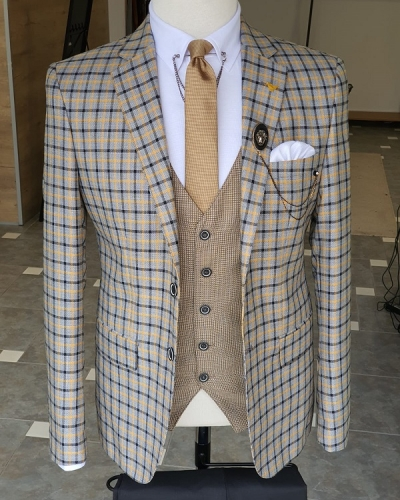 Yellow Slim Fit Plaid Suit for Men by GentWith.com with Free Worldwide Shipping