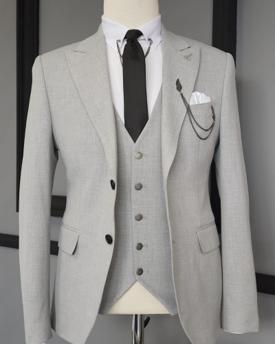 Beige Slim Fit Cotton Suit for Men by GentWith.com with Free Worldwide Shipping