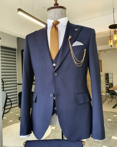 Navy Blue Slim Fit Cotton Suit for Men by GentWith.com with Free Worldwide Shipping