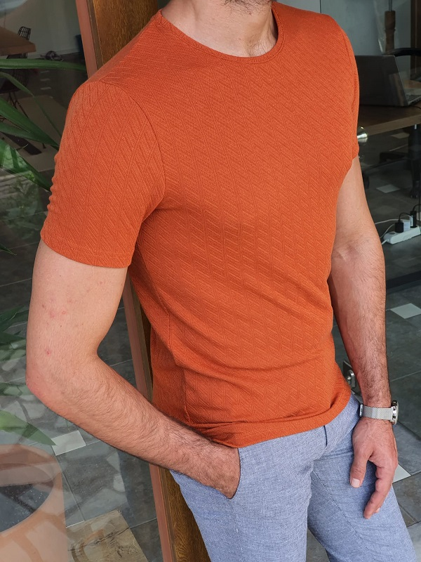 Tile Slim Fit Round Neck T-Shirt for Men by GentWith.com with Free Worldwide Shipping