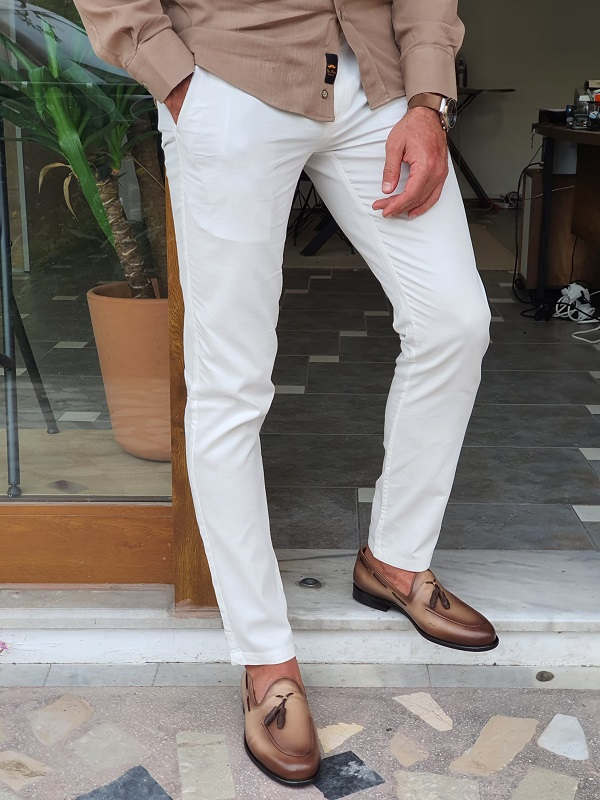 Beige Tassel Loafers for Men by GentWith.com with Free Worldwide Shipping