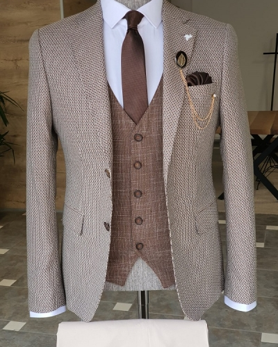 Beige Slim Fit Notch Lapel Suit for Men by GentWith.com with Free Worldwide Shipping
