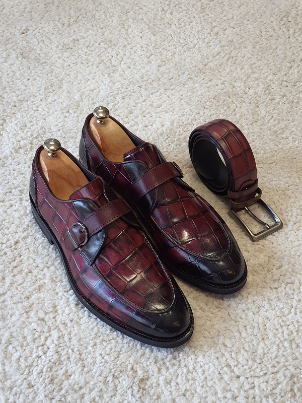 Burgundy Buckle Loafers for Men by GentWith.com with Free Worldwide Shipping