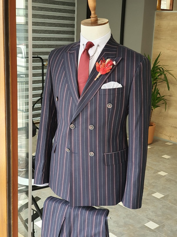 Navy Blue Slim Fit Double Breasted Pinstripe Suit for Men by GentWith.com with Free Worldwide Shipping