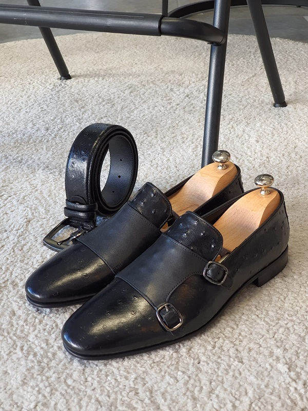 Black Double Monk Strap Shoes for Men by GentWith.com with Free Worldwide Shipping