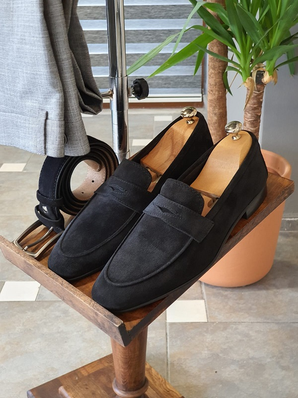 Black Suede Penny Loafers for Men by GentWith.com with Free Worldwide Shipping