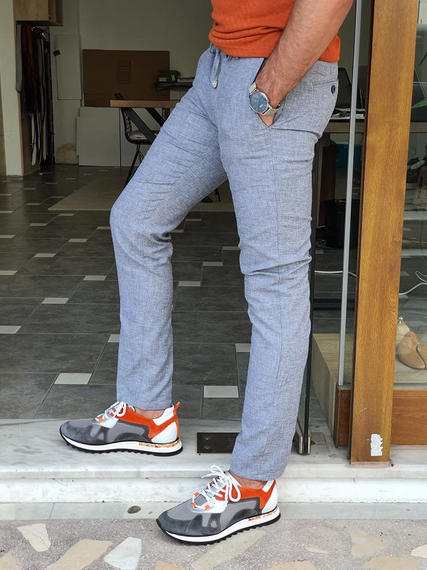 Gray Slim Fit Cotton Pants for Men by GentWith.com with Free Worldwide Shipping