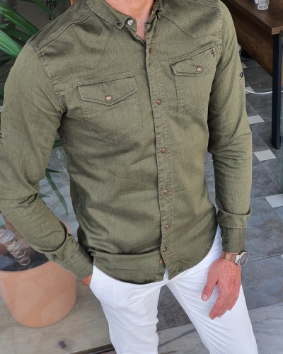 Green Slim Fit Long Sleeve Double Pocket Cotton Shirt for Men by GentWith.com with Free Worldwide Shipping