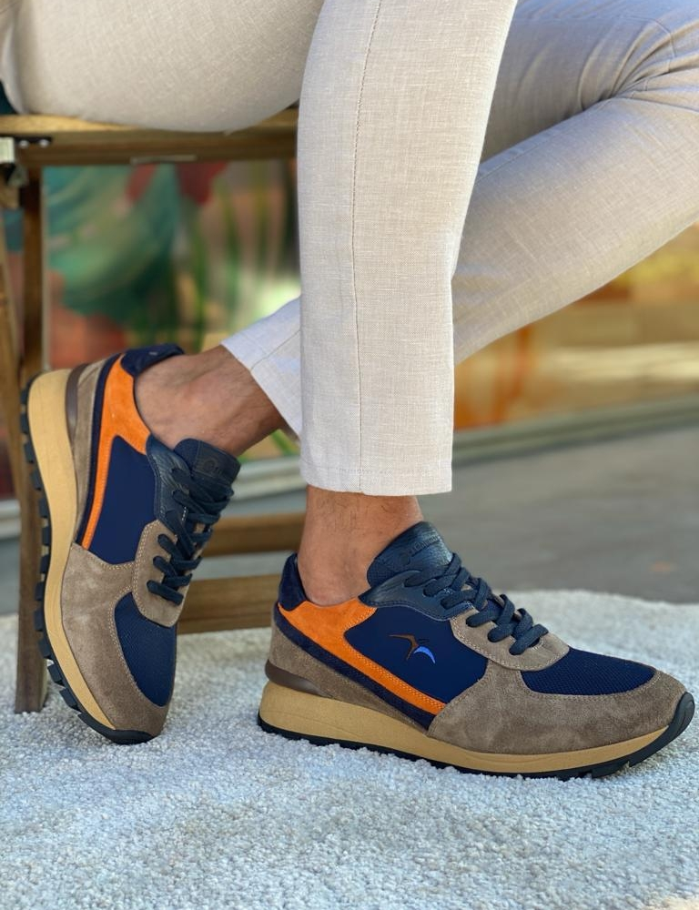 Navy Blue High-Top Sneakers for Men by GentWith.com with Free Worldwide Shipping