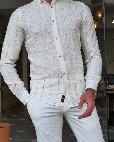 White Brown Slim Fit Long Sleeve Striped Cotton Shirt for Men by GentWith.com with Free Worldwide Shipping
