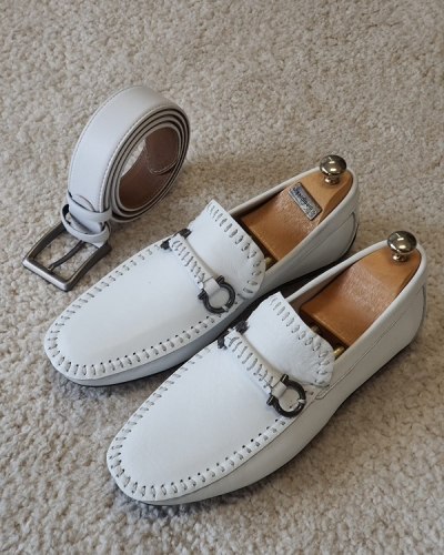White Slip On Bit Loafers for Men by GentWith.com with Free Worldwide Shipping