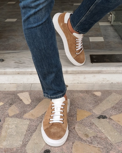 Beige Low-Top Suede Sneakers by GentWith.com with Free Worldwide Shipping