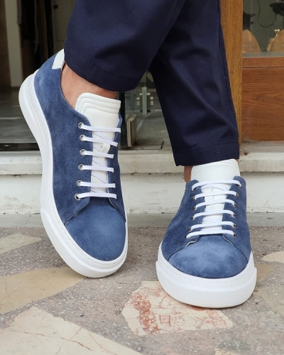Blue Low-Top Suede Sneakers by GentWith.com with Free Worldwide Shipping