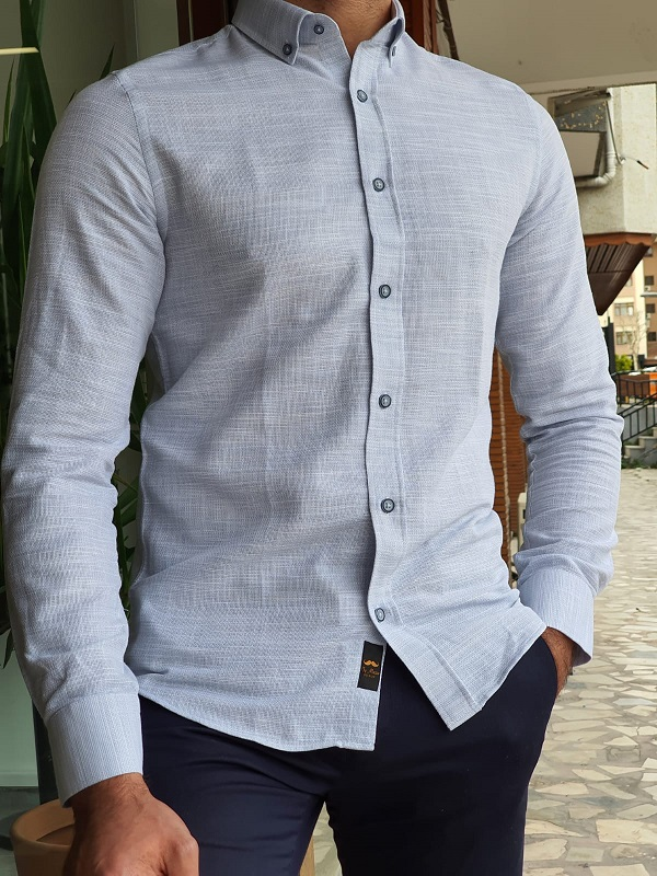 Blue Slim Fit Long Sleeve Linen Shirt by GentWith.com with Free Worldwide Shipping
