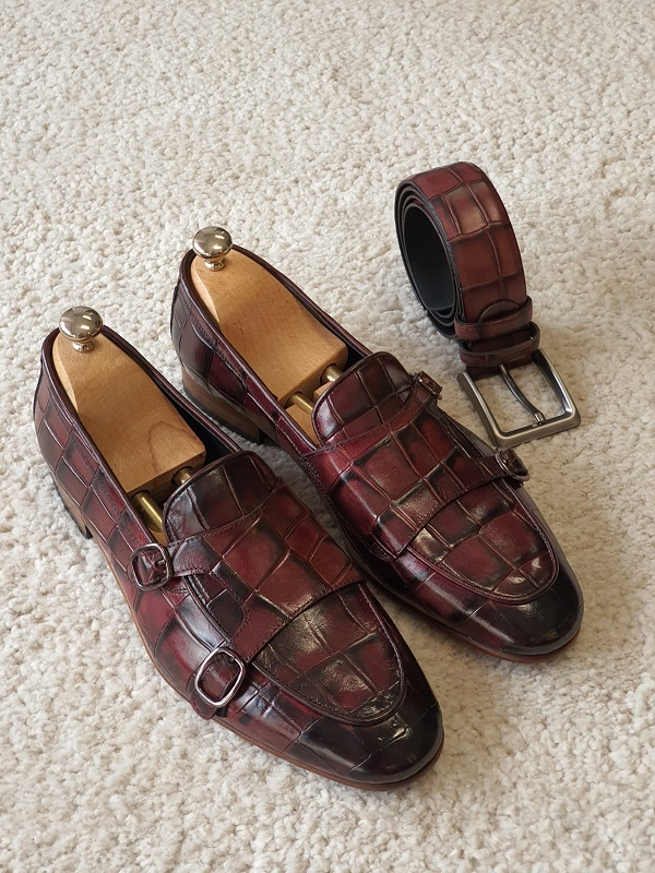 Burgundy Double Monk Strap Loafers for Men by GentWith.com with Free Worldwide Shipping