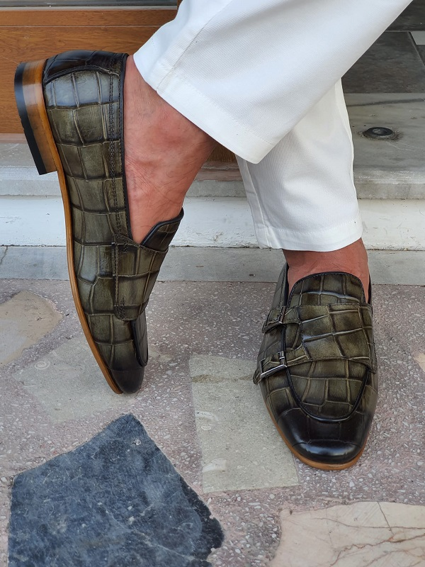 Green Double Monk Strap Loafers for Men by GentWith.com with Free Worldwide Shipping