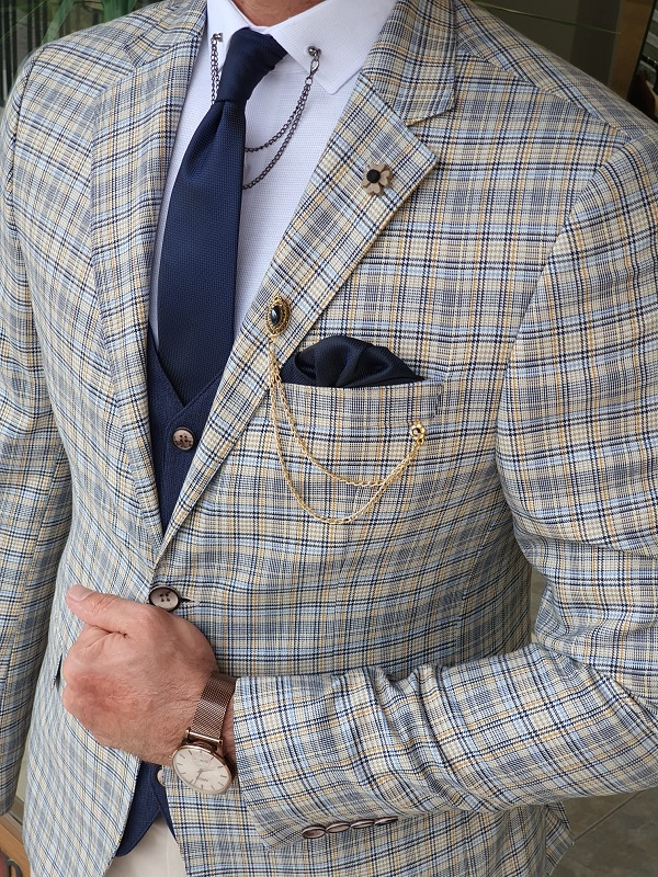 Navy Blue Slim Fit Plaid Suit for Men by GentWith.com with Free Worldwide Shipping