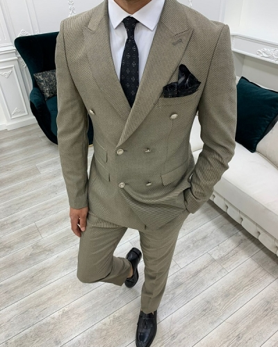 Beige Slim Fit Double Breasted Suit for Men by GentWith.com with Free Worldwide Shipping
