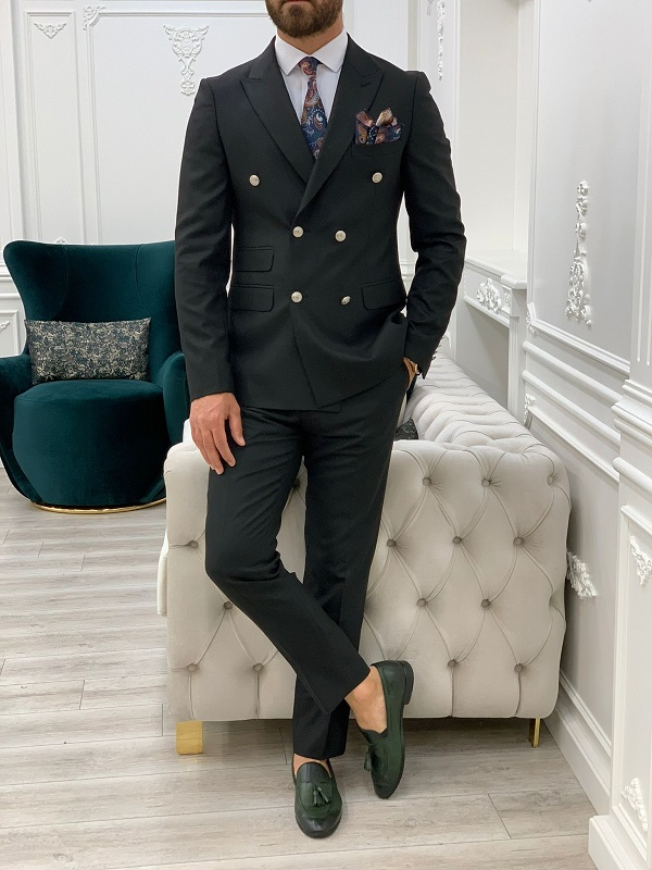 Black Slim Fit Double Breasted Suit for Men by GentWith.com with Free Worldwide Shipping