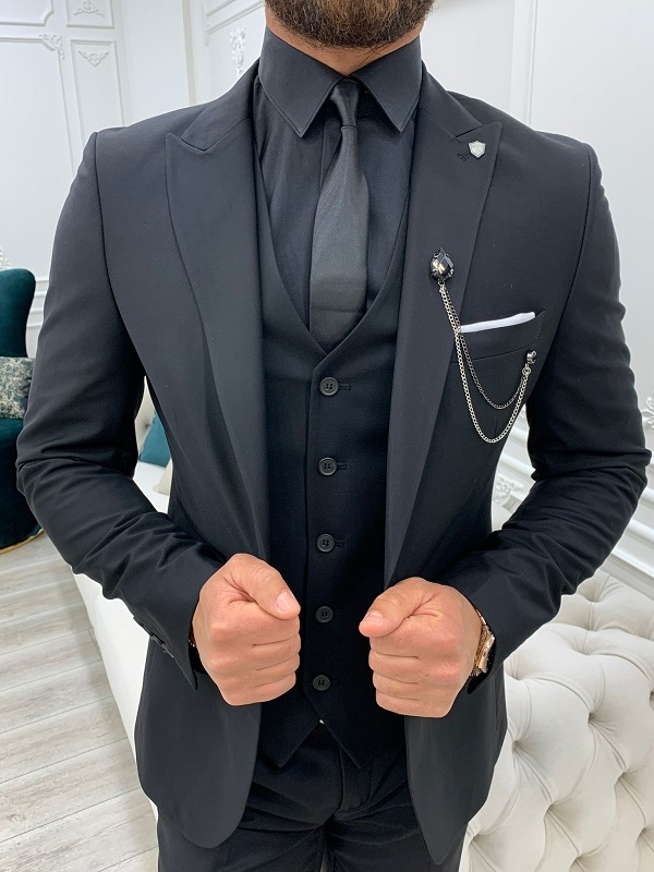 Black Slim Fit Suit by GentWith.com with Free Worldwide Shipping