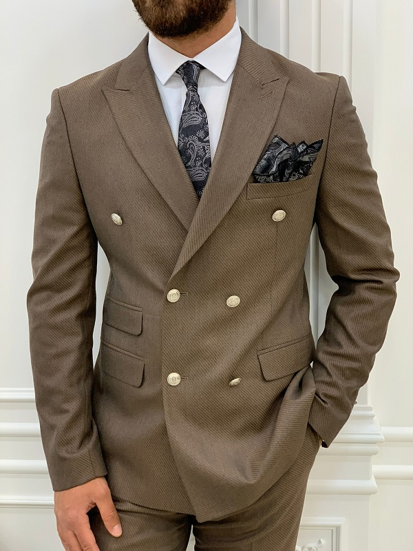 Brown Slim Fit Double Breasted Suit for Men by GentWith.com with Free Worldwide Shipping