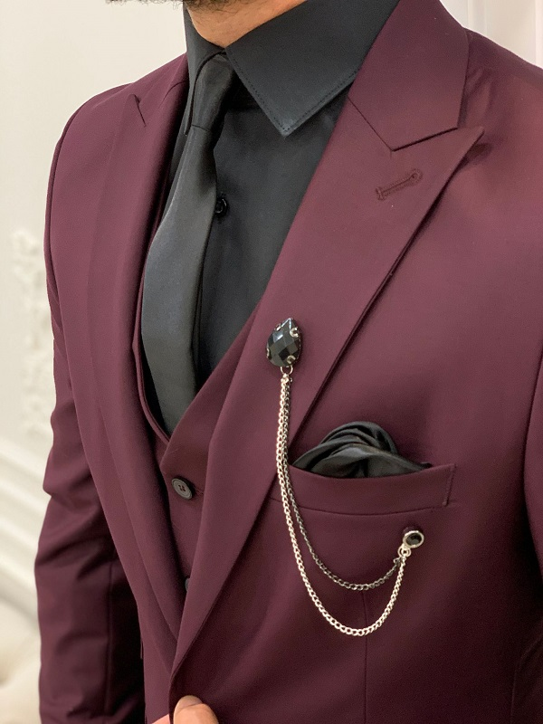 Burgundy Slim Fit Suit by GentWith.com with Free Worldwide Shipping