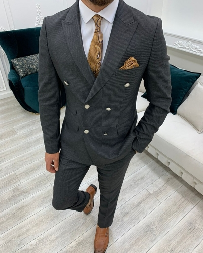 Charcoal Gray Slim Fit Double Breasted Suit for Men by GentWith.com with Free Worldwide Shipping
