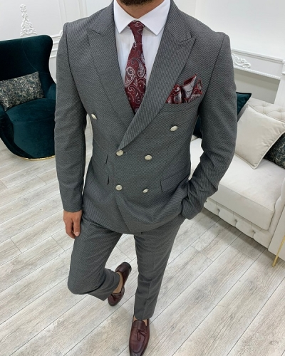 Dark Gray Slim Fit Double Breasted Suit for Men by GentWith.com with Free Worldwide Shipping