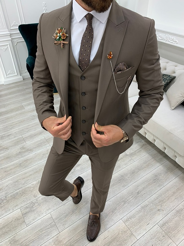 Brown Slim Fit Suit by GentWith.com with Free Worldwide Shipping