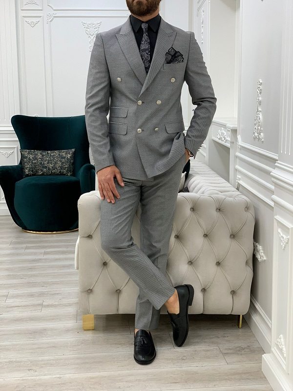 Light Gray Slim Fit Double Breasted Suit for Men by GentWith.com with Free Worldwide Shipping