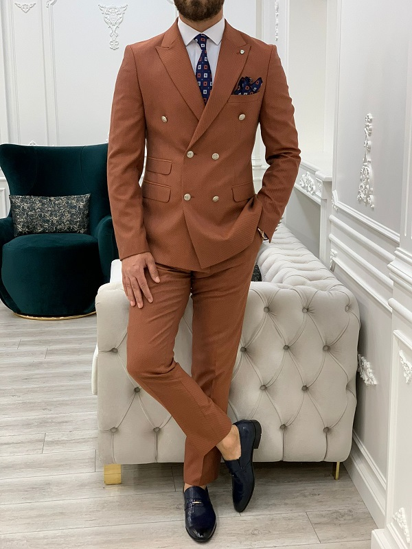 Tile Slim Fit Double Breasted Suit for Men by GentWith.com with Free Worldwide Shipping