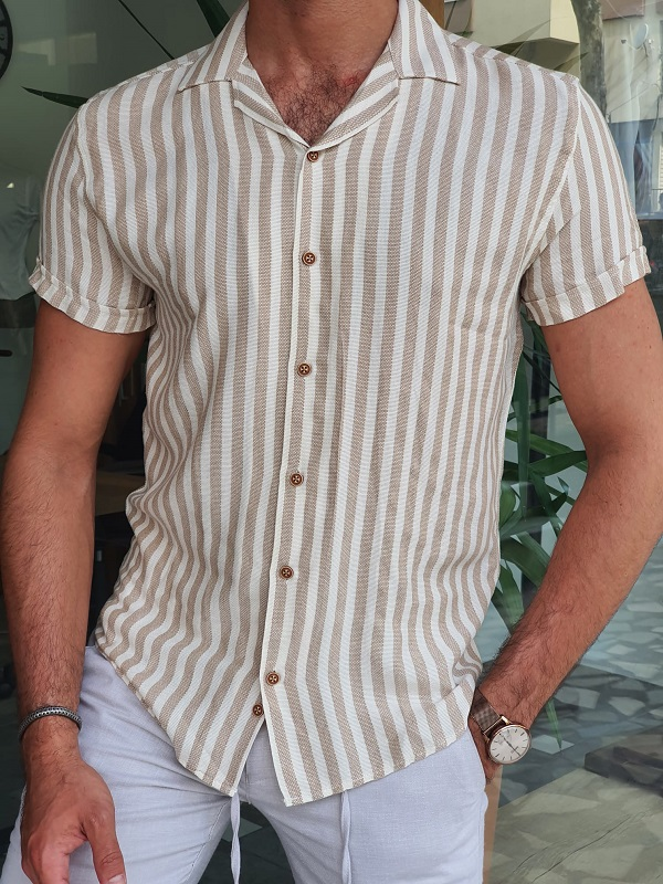 Beige Slim Fit Short Sleeve Striped Shirt for Men by GentWith.com with Free Worldwide Shipping